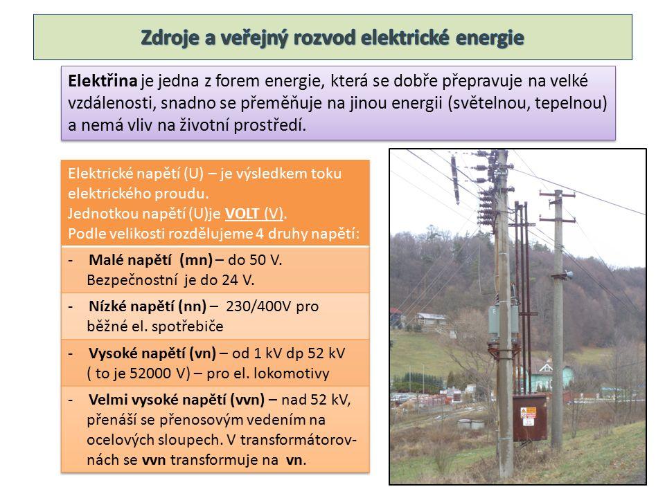Elektřina je jedna z forem energie, která se dobře přepravuje na velké vzdálenosti, snadno se přeměňuje na jinou energii (světelnou, tepelnou) a nemá