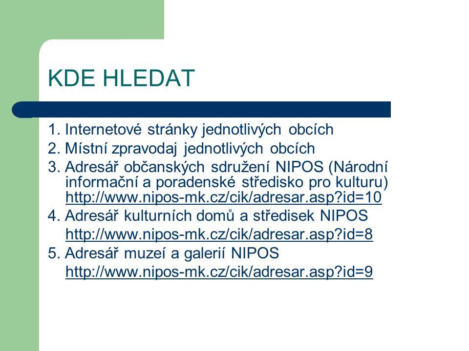 KDE HLEDAT 1. Internetové stránky jednotlivých obcích 2.