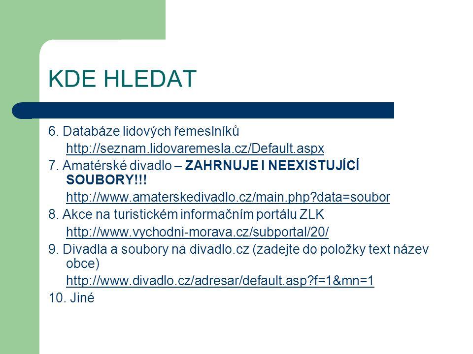 6. Databáze lidových řemeslníků http://seznam.lidovaremesla.cz/Default.aspx 7.