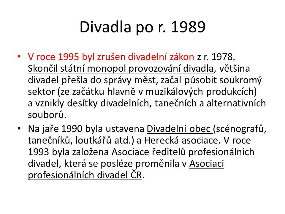 Divadla po r. 1989 V roce 1995 byl zrušen divadelní zákon z r. 1978. Skončil státní monopol provozování divadla, většina divadel přešla do správy měst