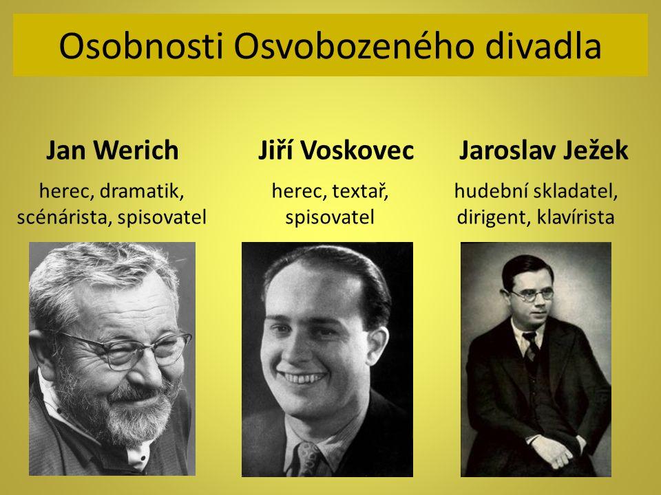Osobnosti Osvobozeného divadla Jan Werich Jiří Voskovec Jaroslav Ježek herec, dramatik, scénárista, spisovatel herec, textař, spisovatel hudební sklad
