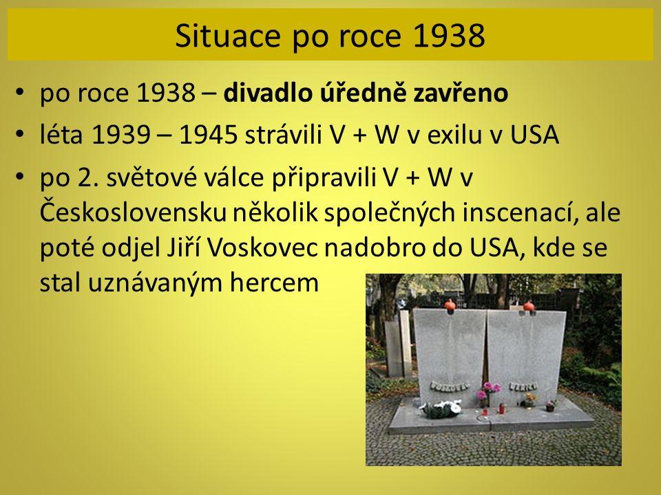Situace po roce 1938 po roce 1938 – divadlo úředně zavřeno léta 1939 – 1945 strávili V + W v exilu v USA po 2. světové válce připravili V + W v Českos