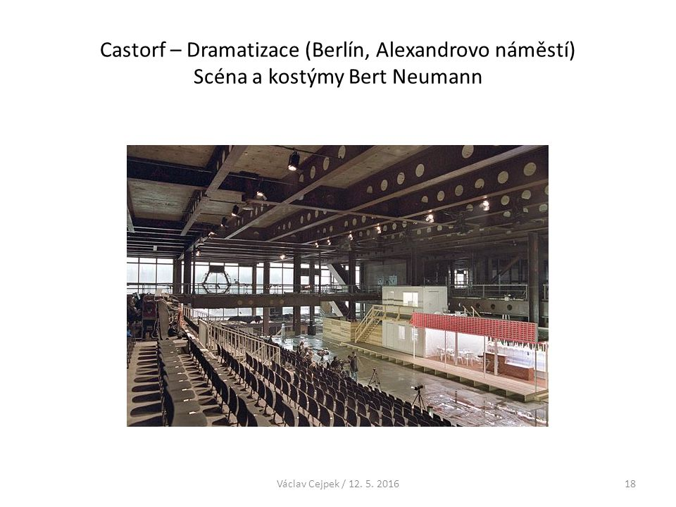 Castorf – Dramatizace (Berlín, Alexandrovo náměstí) Scéna a kostýmy Bert Neumann Václav Cejpek / 12. 5. 201618
