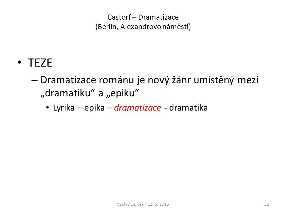 """Castorf – Dramatizace (Berlín, Alexandrovo náměstí) TEZE – Dramatizace románu je nový žánr umístěný mezi """"dramatiku"""" a """"epiku"""" Lyrika – epika – dramat"""