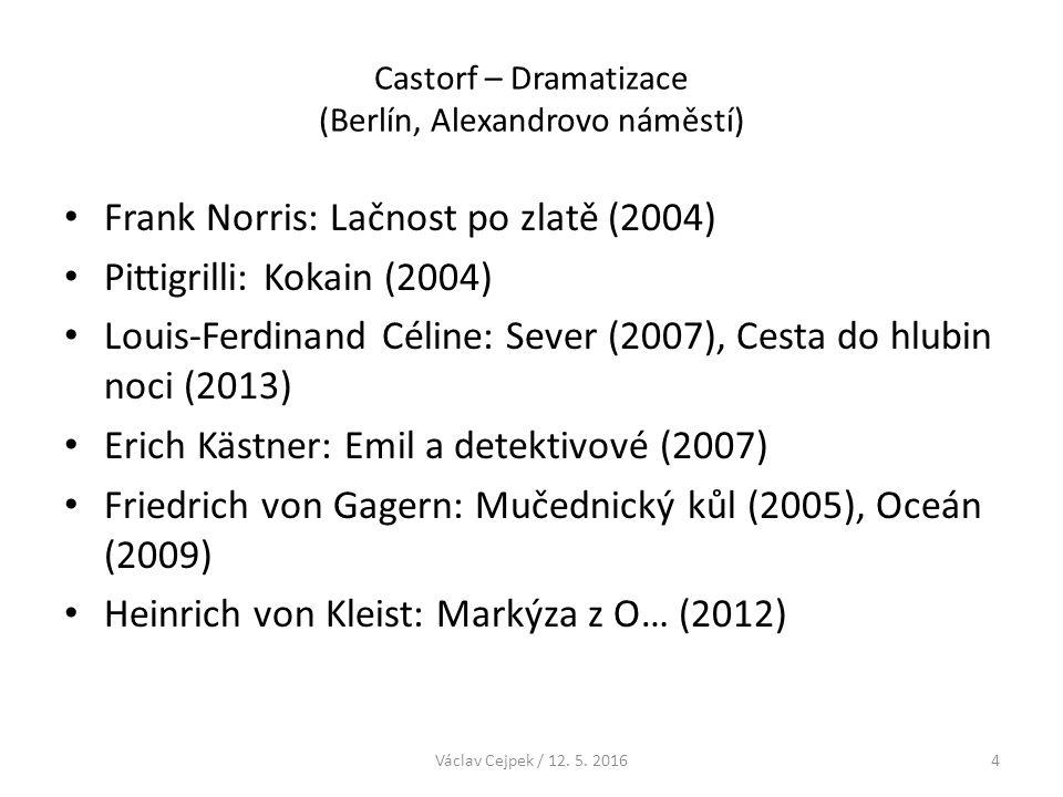 Castorf – Dramatizace (Berlín, Alexandrovo náměstí) Franz Kafka: Amerika (2012) Honoré de Balzac: Sestřenice Běta (2013) Curzio Malaparte: Kaput (2014) Václav Cejpek / 12.