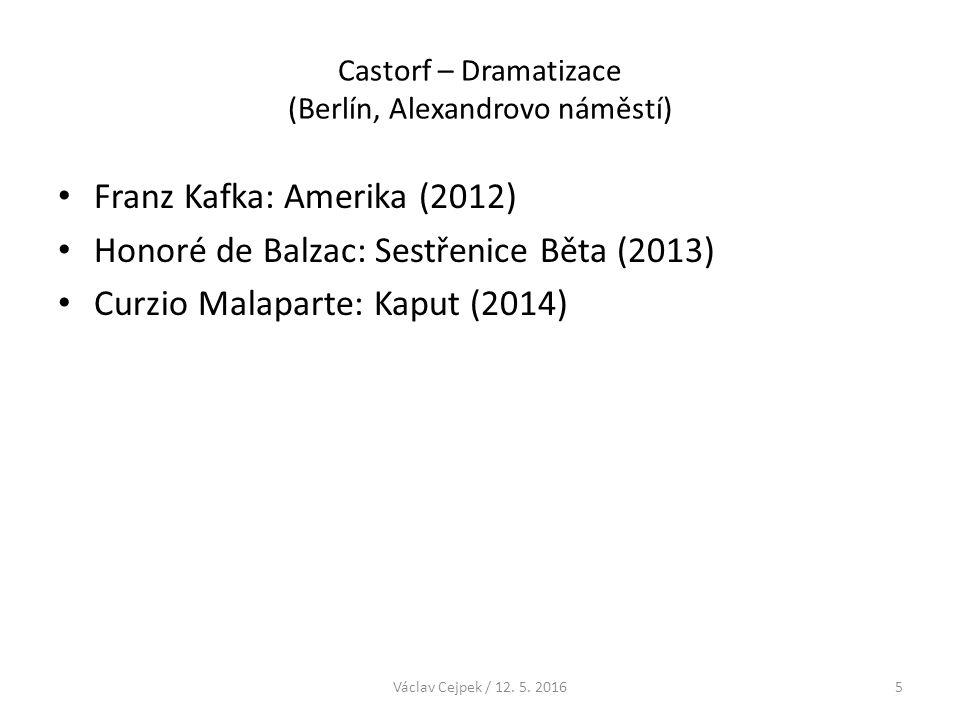"""Castorf – Dramatizace (Berlín, Alexandrovo náměstí) Castorfova metoda jak vypracovat to, co je pro něho důležité: – rozložit román na jeho základní části – nejzajímavější části znovu poskládat – Castorf: """"… lze říct, že dojde ke zboření."""