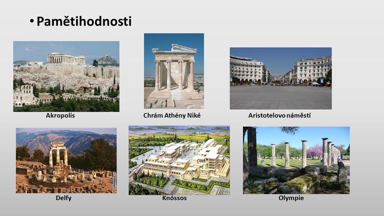 Pamětihodnosti Akropolis Chrám Athény Niké Aristotelovo náměstí Delfy Knóssos Olympie