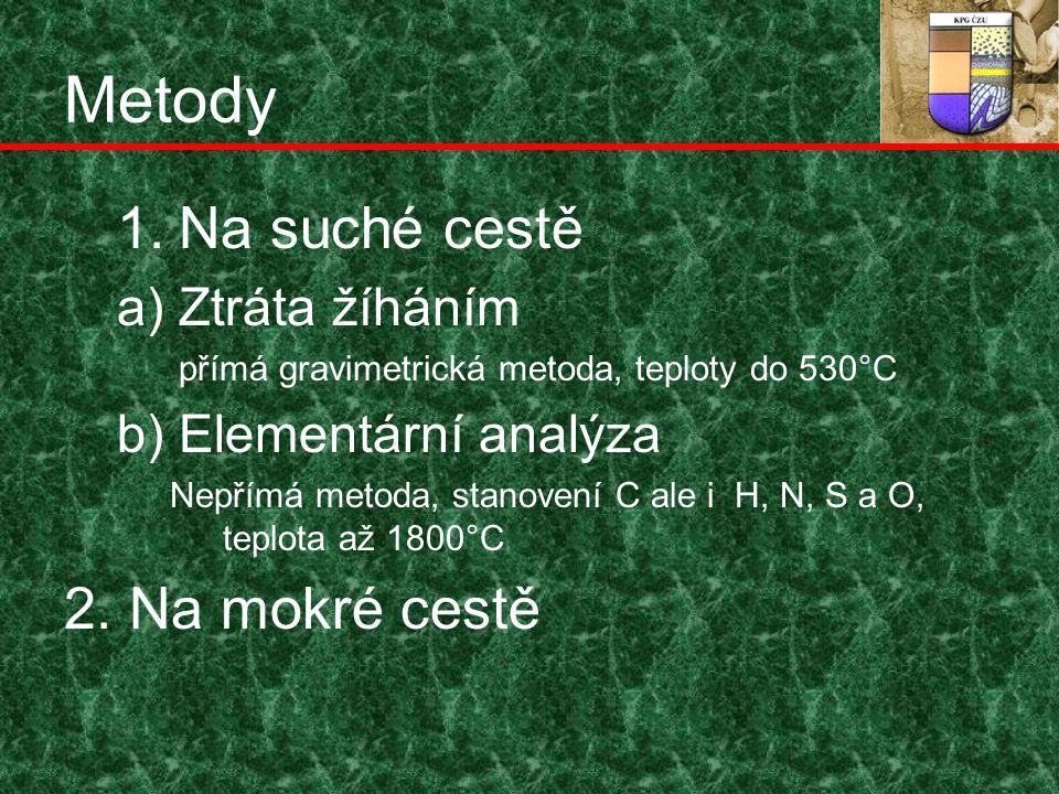 Metody 1.Na suché cestě a) Ztráta žíháním přímá gravimetrická metoda, teploty do 530°C b) Elementární analýza Nepřímá metoda, stanovení C ale i H, N, S a O, teplota až 1800°C 2.