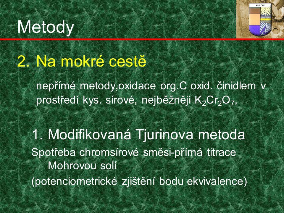 Metody 2.Na mokré cestě nepřímé metody,oxidace org.C oxid.