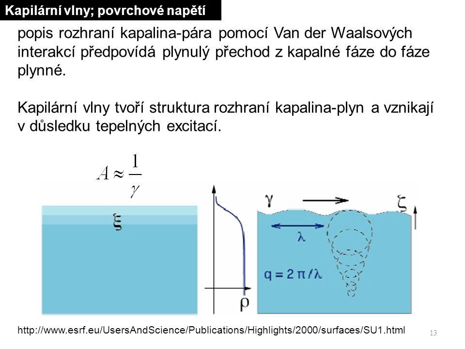 13 popis rozhraní kapalina-pára pomocí Van der Waalsových interakcí předpovídá plynulý přechod z kapalné fáze do fáze plynné.