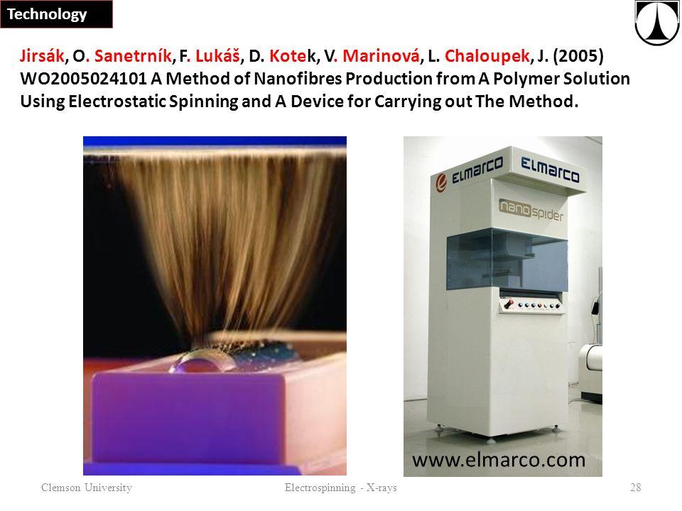 Clemson UniversityElectrospinning - X-rays28 Technology Jirsák, O.
