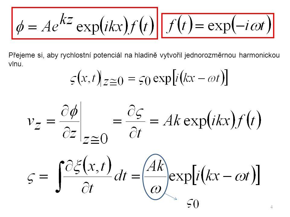 4 Přejeme si, aby rychlostní potenciál na hladině vytvořil jednorozměrnou harmonickou vlnu.