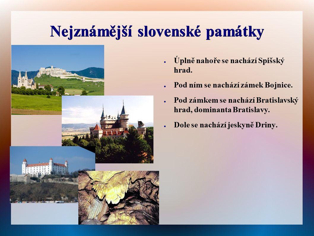 Nejznámější slovenské památky ● Úplně nahoře se nachází Spišský hrad. ● Pod ním se nachází zámek Bojnice. ● Pod zámkem se nachází Bratislavský hrad, d