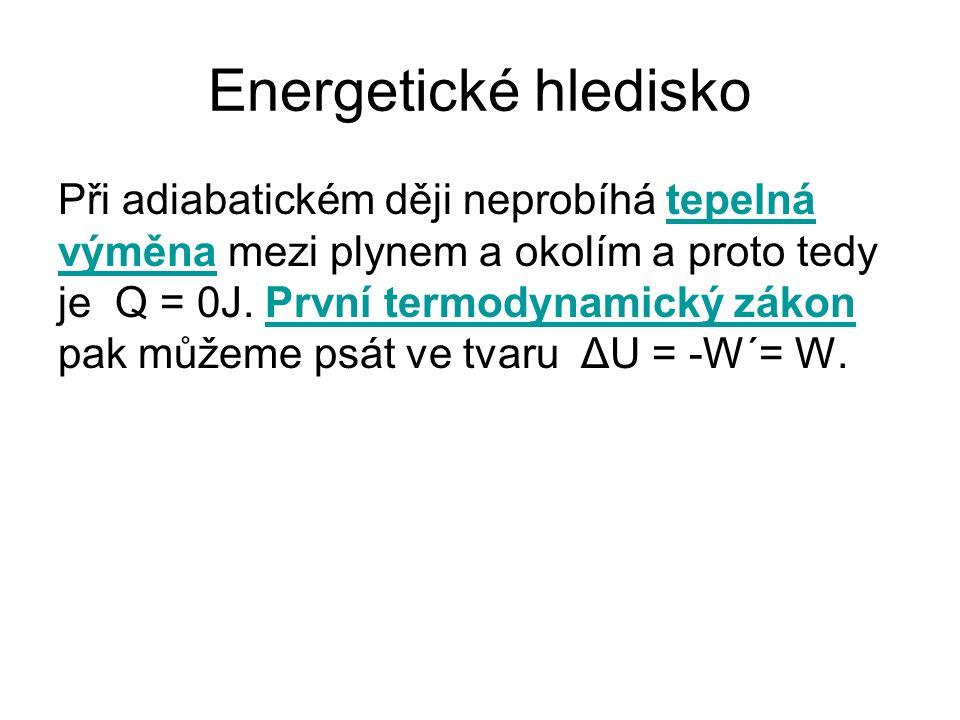 Energetické hledisko Při adiabatickém ději neprobíhá tepelná výměna mezi plynem a okolím a proto tedy je Q = 0J. První termodynamický zákon pak můžeme