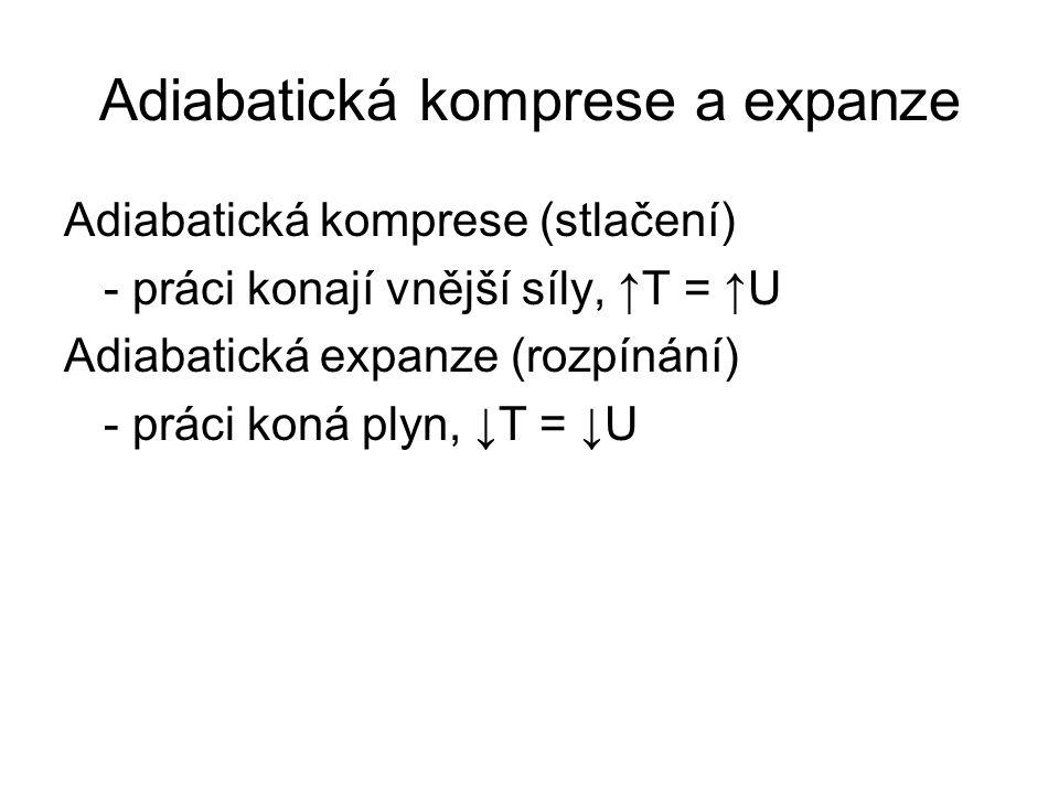 Adiabatická komprese a expanze Adiabatická komprese (stlačení) - práci konají vnější síly, ↑T = ↑U Adiabatická expanze (rozpínání) - práci koná plyn, ↓T = ↓U
