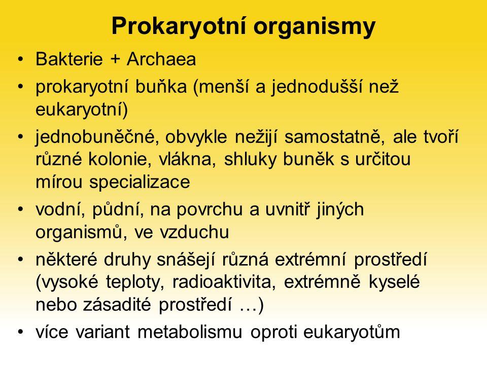 Prokaryotní organismy Bakterie + Archaea prokaryotní buňka (menší a jednodušší než eukaryotní) jednobuněčné, obvykle nežijí samostatně, ale tvoří různé kolonie, vlákna, shluky buněk s určitou mírou specializace vodní, půdní, na povrchu a uvnitř jiných organismů, ve vzduchu některé druhy snášejí různá extrémní prostředí (vysoké teploty, radioaktivita, extrémně kyselé nebo zásadité prostředí …) více variant metabolismu oproti eukaryotům