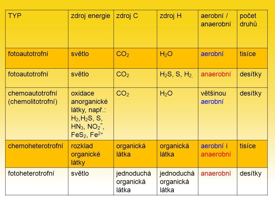 TYPzdroj energiezdroj Czdroj Haerobní / anaerobní počet druhů fotoautotrofnísvětloCO 2 H2OH2Oaerobnítisíce fotoautotrofnísvětloCO 2 H 2 S, S, H 2, anaerobnídesítky chemoautotrofní (chemolitotrofní) oxidace anorganické látky, např.: H 2,H 2 S, S, HN 3, NO 2 -, FeS 2, Fe 2+ CO 2 H2OH2Ovětšinou aerobní desítky chemoheterotrofnírozklad organické látky organická látka aerobní i anaerobní tisíce fotoheterotrofnísvětlojednoduchá organická látka jednoduchá organická látka anaerobnídesítky