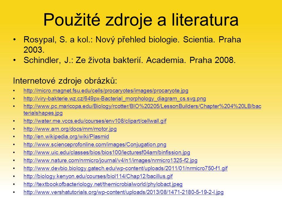 Použité zdroje a literatura Rosypal, S.a kol.: Nový přehled biologie.