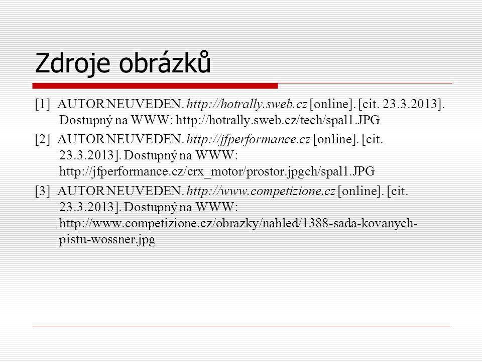 Zdroje obrázků [1] AUTOR NEUVEDEN. http://hotrally.sweb.cz [online].