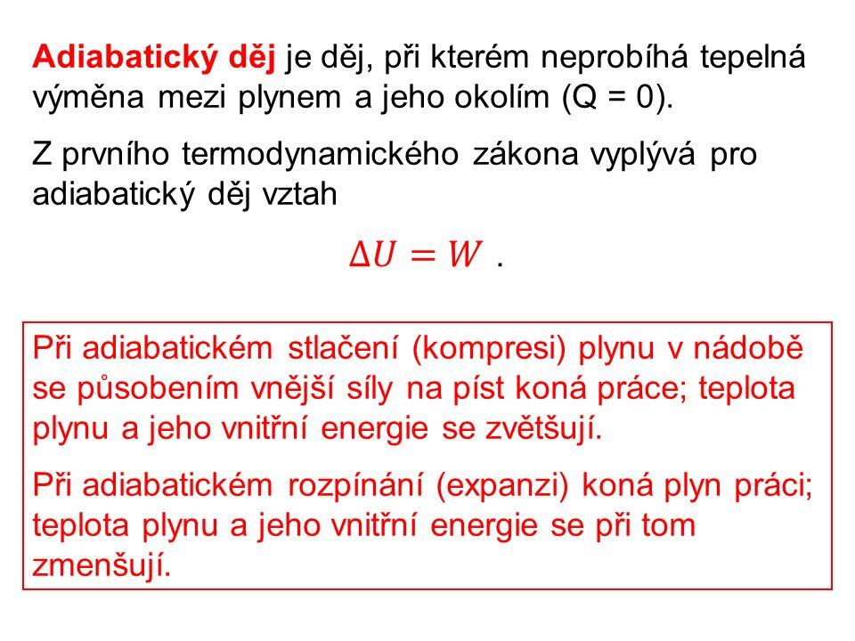 Adiabatický děj je děj, při kterém neprobíhá tepelná výměna mezi plynem a jeho okolím (Q = 0).