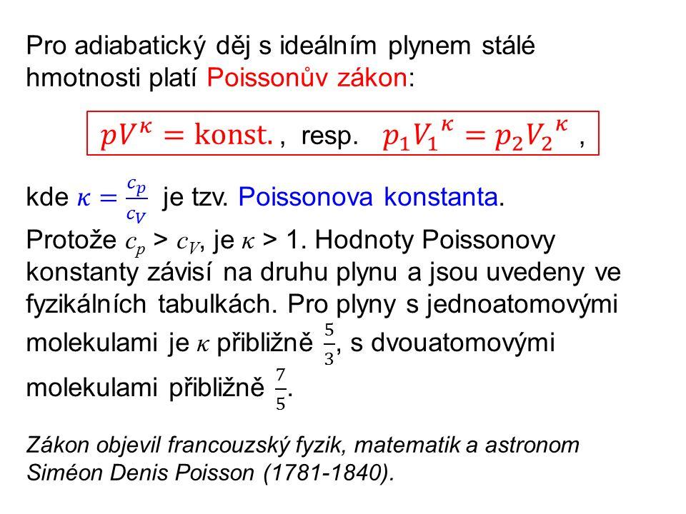 Pro adiabatický děj s ideálním plynem stálé hmotnosti platí Poissonův zákon: Zákon objevil francouzský fyzik, matematik a astronom Siméon Denis Poisson (1781-1840).