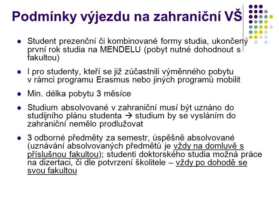 Podmínky výjezdu na zahraniční VŠ Student prezenční či kombinované formy studia, ukončený první rok studia na MENDELU (pobyt nutné dohodnout s fakultou) I pro studenty, kteří se již zúčastnili výměnného pobytu v rámci programu Erasmus nebo jiných programů mobilit Min.