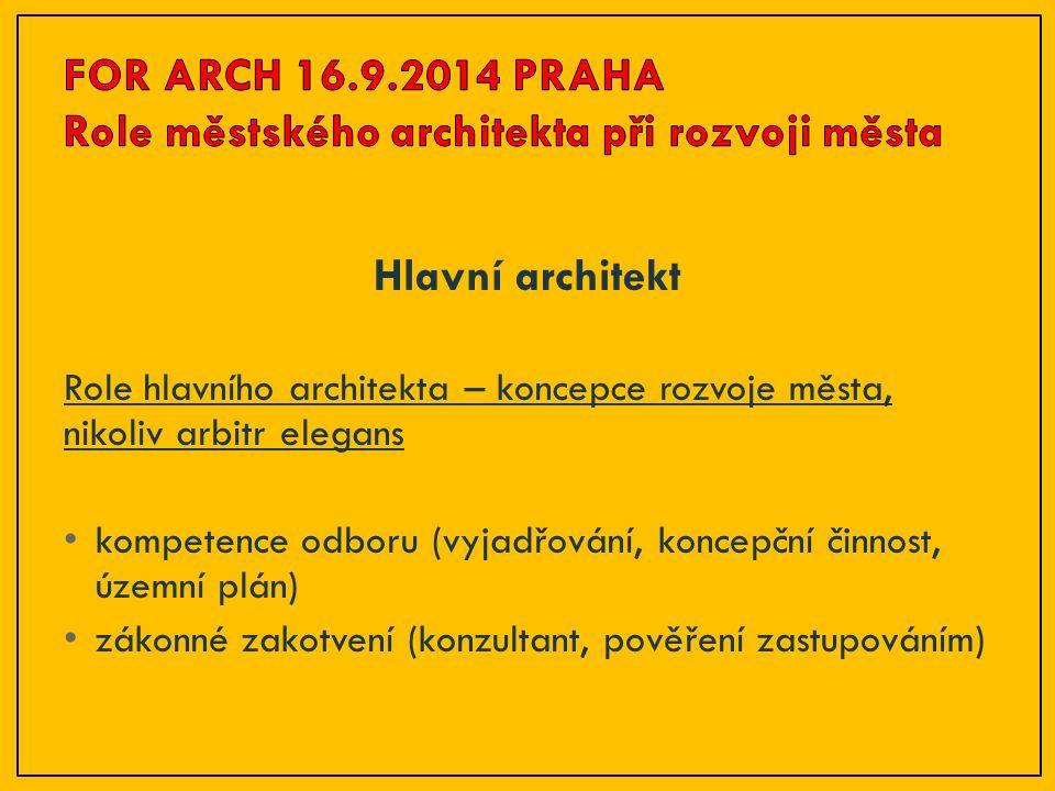 Hlavní architekt Role hlavního architekta – koncepce rozvoje města, nikoliv arbitr elegans kompetence odboru (vyjadřování, koncepční činnost, územní p