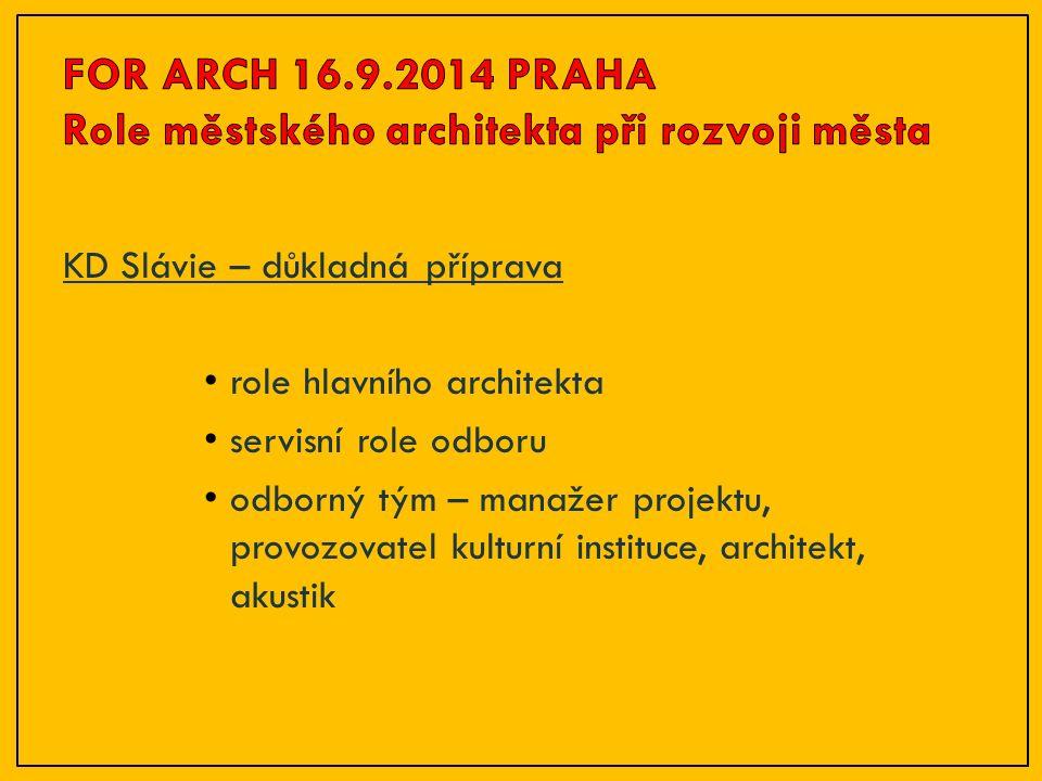 KD Slávie – důkladná příprava role hlavního architekta servisní role odboru odborný tým – manažer projektu, provozovatel kulturní instituce, architekt