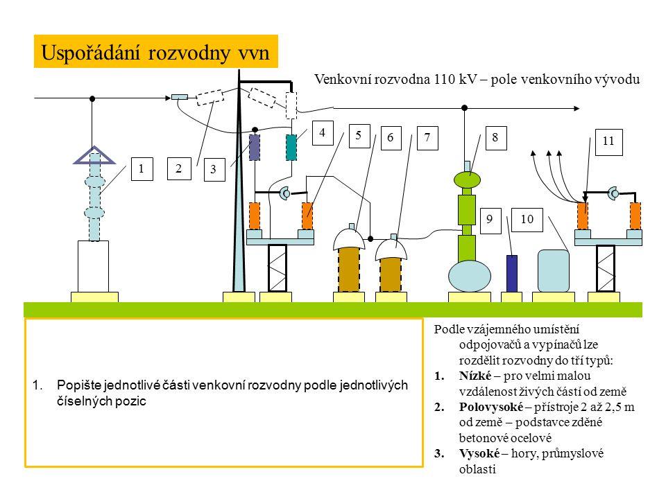 Uspořádání rozvodny vvn 1 2 3 4 5 678 910 11 Venkovní rozvodna 110 kV – pole venkovního vývodu 1.Ventilová bleskojistka 2.Izolátor 3.Tlumivka 4.Kondenzátor 5.Odpojovače 6.MTN 7.MTP 8.Vypínače 9.Ovládací skříň 10.Vyrovnávací vzduchojem 11.odpojovače V budovách, které se pochopitelně i u venkovních rozvoden vyskytují, jsou umísťovány dozorny, prostory pro obsluhující personál, sociální zařízení, pomocné provozy, … Podle vzájemného umístění odpojovačů a vypínačů lze rozdělit rozvodny do tří typů: 1.Nízké – pro velmi malou vzdálenost živých částí od země 2.Polovysoké – přístroje 2 až 2,5 m od země – podstavce zděné betonové ocelové 3.Vysoké – hory, průmyslové oblasti 1.Popište jednotlivé části venkovní rozvodny podle jednotlivých číselných pozic