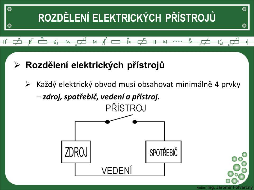 ROZDĚLENÍ ELEKTRICKÝCH PŘÍSTROJŮ  Rozdělení elektrických přístrojů  Každý elektrický obvod musí obsahovat minimálně 4 prvky – zdroj, spotřebič, vede