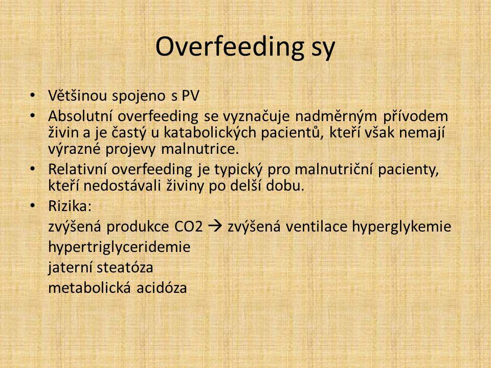 Overfeeding sy Většinou spojeno s PV Absolutní overfeeding se vyznačuje nadměrným přívodem živin a je častý u katabolických pacientů, kteří však nemají výrazné projevy malnutrice.