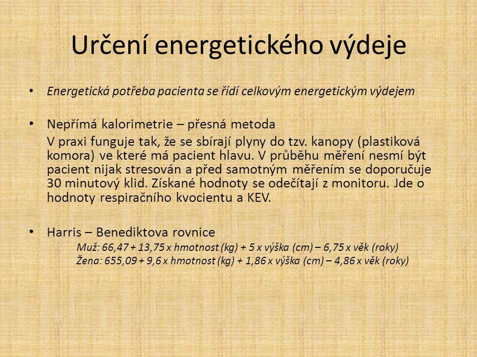 Určení energetického výdeje Energetická potřeba pacienta se řídí celkovým energetickým výdejem Nepřímá kalorimetrie – přesná metoda V praxi funguje tak, že se sbírají plyny do tzv.