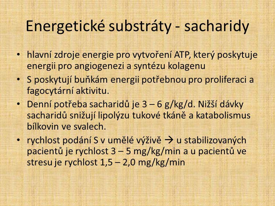 Energetické substráty - sacharidy hlavní zdroje energie pro vytvoření ATP, který poskytuje energii pro angiogenezi a syntézu kolagenu S poskytují buňkám energii potřebnou pro proliferaci a fagocytární aktivitu.