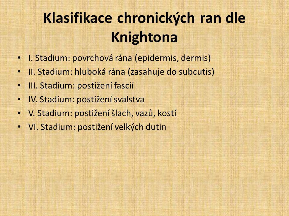 Klasifikace chronických ran dle Knightona I. Stadium: povrchová rána (epidermis, dermis) II.