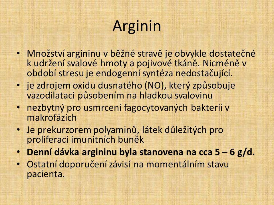 Arginin Množství argininu v běžné stravě je obvykle dostatečné k udržení svalové hmoty a pojivové tkáně.