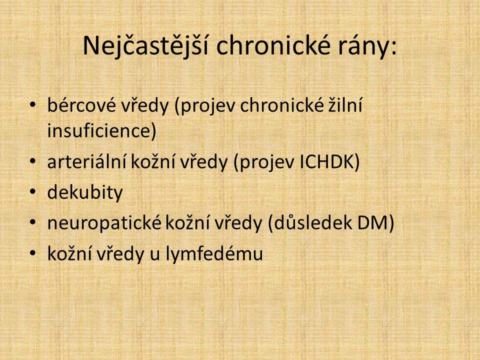 Nejčastější chronické rány: bércové vředy (projev chronické žilní insuficience) arteriální kožní vředy (projev ICHDK) dekubity neuropatické kožní vředy (důsledek DM) kožní vředy u lymfedému