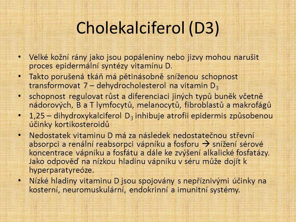 Cholekalciferol (D3) Velké kožní rány jako jsou popáleniny nebo jizvy mohou narušit proces epidermální syntézy vitamínu D.