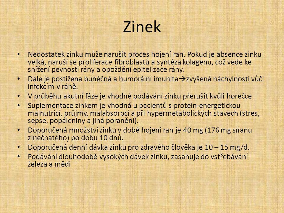 Zinek Nedostatek zinku může narušit proces hojení ran.