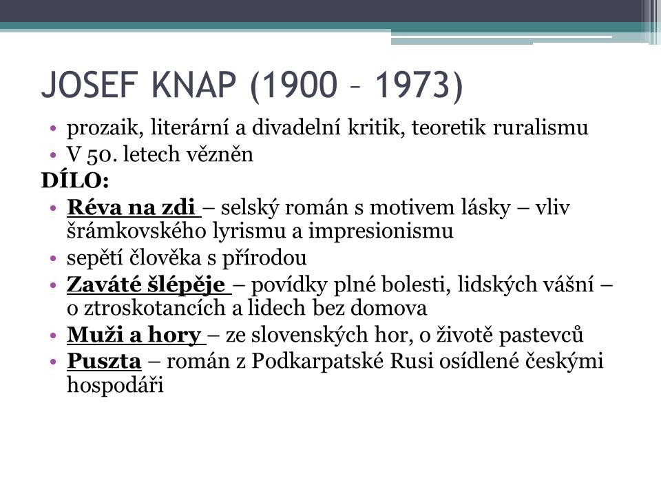 JOSEF KNAP (1900 – 1973) prozaik, literární a divadelní kritik, teoretik ruralismu V 50.
