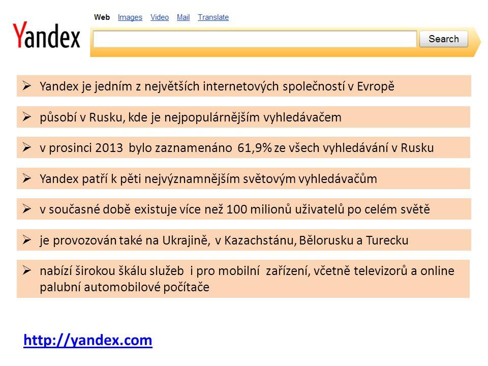 http://yandex.com  Yandex je jedním z největších internetových společností v Evropě  působí v Rusku, kde je nejpopulárnějším vyhledávačem  v současné době existuje více než 100 milionů uživatelů po celém světě  nabízí širokou škálu služeb i pro mobilní zařízení, včetně televizorů a online palubní automobilové počítače  v prosinci 2013 bylo zaznamenáno 61,9% ze všech vyhledávání v Rusku  je provozován také na Ukrajině, v Kazachstánu, Bělorusku a Turecku  Yandex patří k pěti nejvýznamnějším světovým vyhledávačům