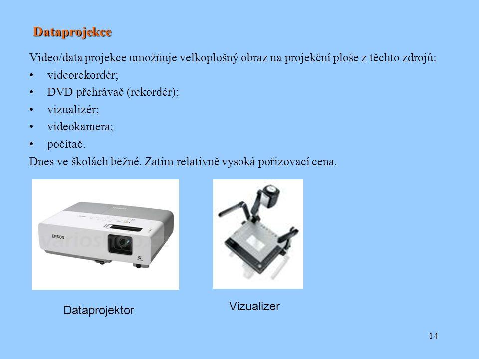 14 Dataprojekce Video/data projekce umožňuje velkoplošný obraz na projekční ploše z těchto zdrojů: videorekordér; DVD přehrávač (rekordér); vizualizér; videokamera; počítač.