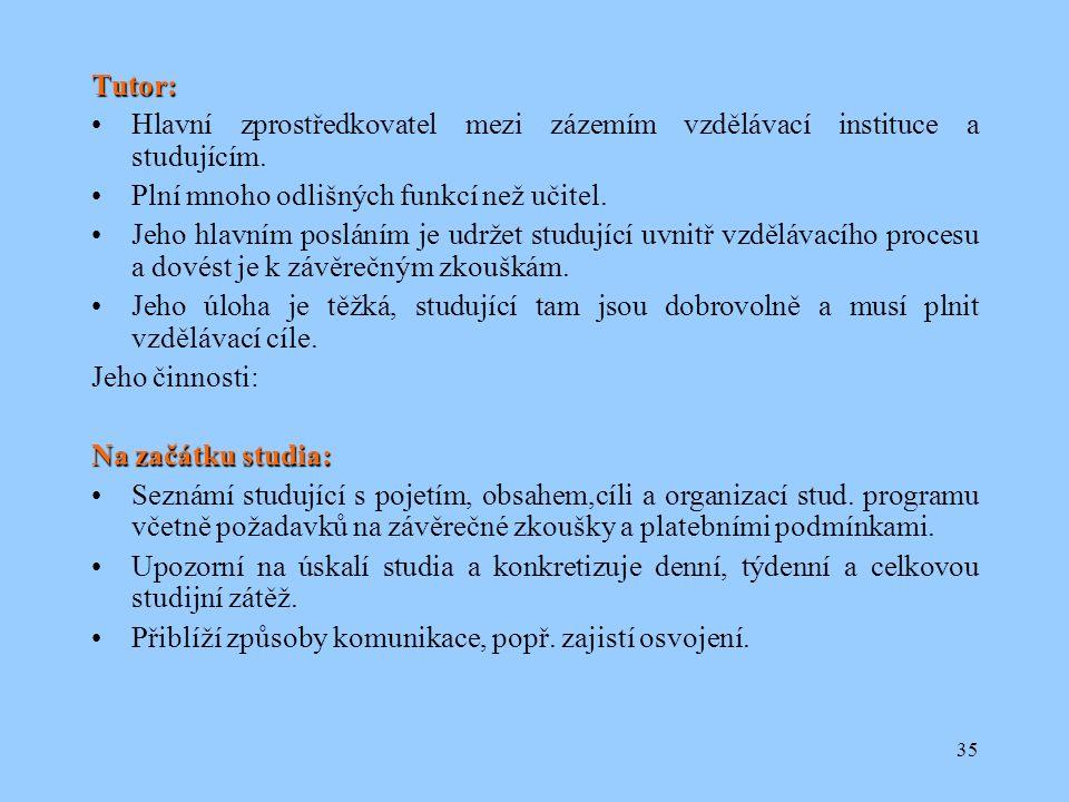 35 Tutor: Hlavní zprostředkovatel mezi zázemím vzdělávací instituce a studujícím.