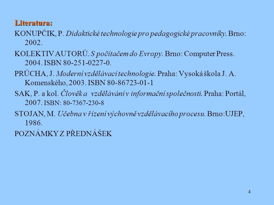 4 Literatura: KONUPČIK, P. Didaktické technologie pro pedagogické pracovníky.