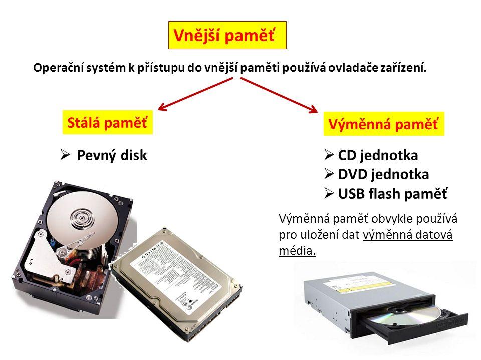 Vnější paměť Stálá paměť Výměnná paměť Operační systém k přístupu do vnější paměti používá ovladače zařízení.