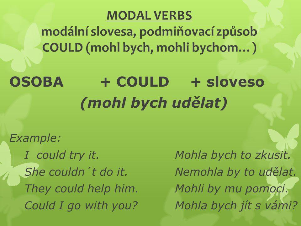 MODAL VERBS modální slovesa, podmiňovací způsob COULD (mohl bych, mohli bychom…) OSOBA+ COULD + sloveso (mohl bych udělat) Example: I could try it.