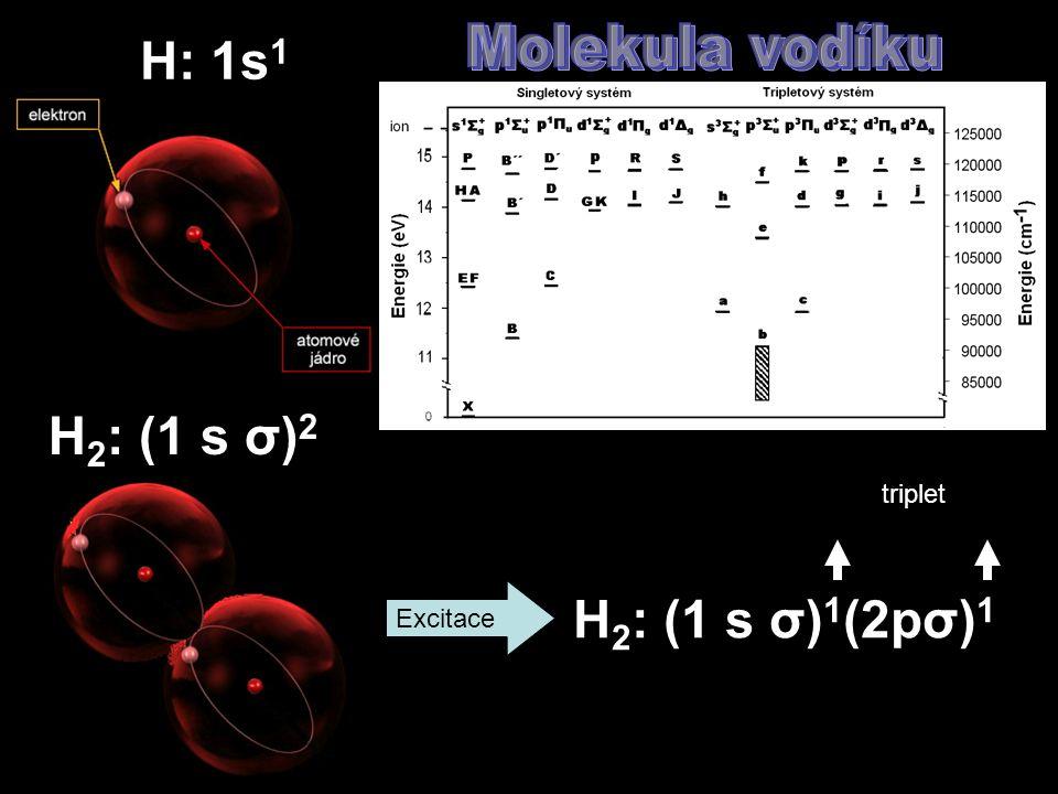 H 2 : (1 s σ) 2 Excitace H 2 : (1 s σ) 1 (2pσ) 1 triplet H: 1s 1