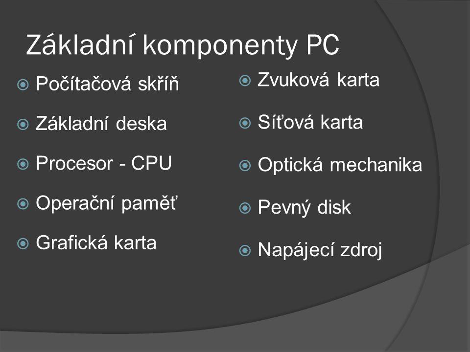 Základní komponenty PC  Základní deska  Optická mechanika  Počítačová skříň  Procesor - CPU  Operační paměť  Grafická karta  Zvuková karta  Pevný disk  Napájecí zdroj  Síťová karta