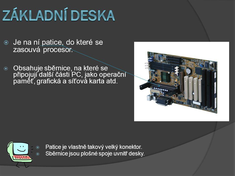  Obsahuje sběrnice, na které se připojují další části PC, jako operační paměť, grafická a síťová karta atd.