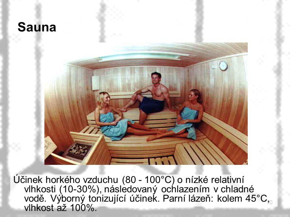 10 Sauna Účinek horkého vzduchu (80 - 100°C) o nízké relativní vlhkosti (10-30%), následovaný ochlazením v chladné vodě. Výborný tonizující účinek. Pa