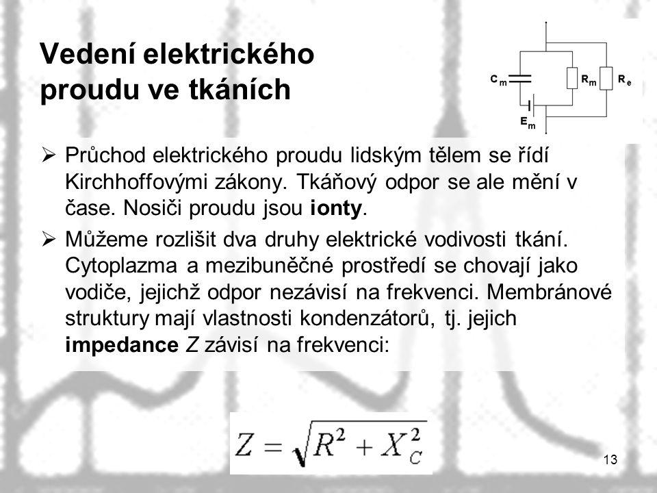 13 Vedení elektrického proudu ve tkáních  Průchod elektrického proudu lidským tělem se řídí Kirchhoffovými zákony. Tkáňový odpor se ale mění v čase.
